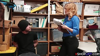 busty security milf takes a big dick from a thief guy
