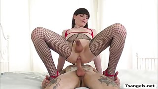 slutty brunette ts natalie mars handjobs dude tell he cums