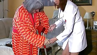 Plumper plump Nurse masturbate with old Granny