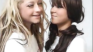 Platinum-blonde Teen Tears up A Dark haired Schoolgirl With Strapon